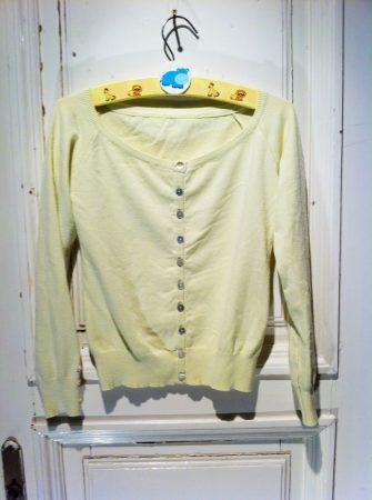 128/134-es pasztell sárga kardigán