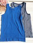 122/128-as H&M tengerkék és sötétkék-fehér csíkos fiú trikó